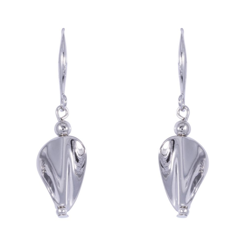 Bisoux Rodium Plated Twisted Silver Feature Earrings on Fish Hook